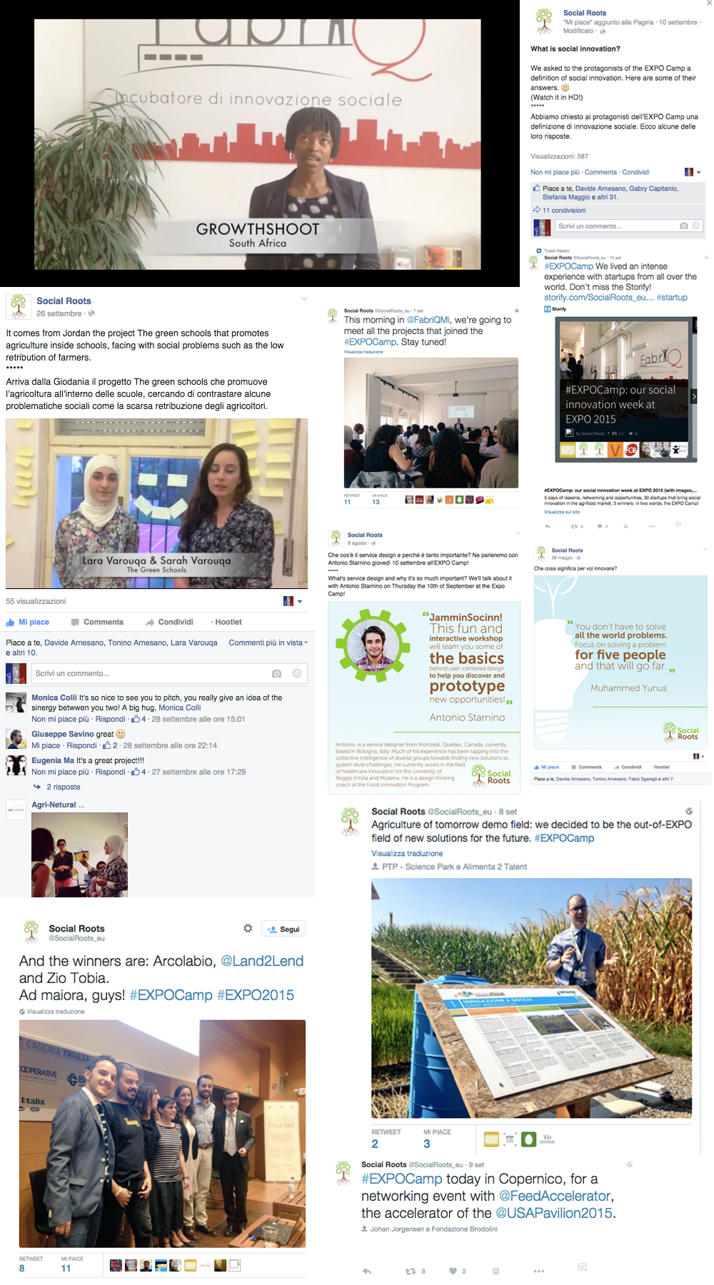 Social Roots: esempi di post sui Facebook e Twitter